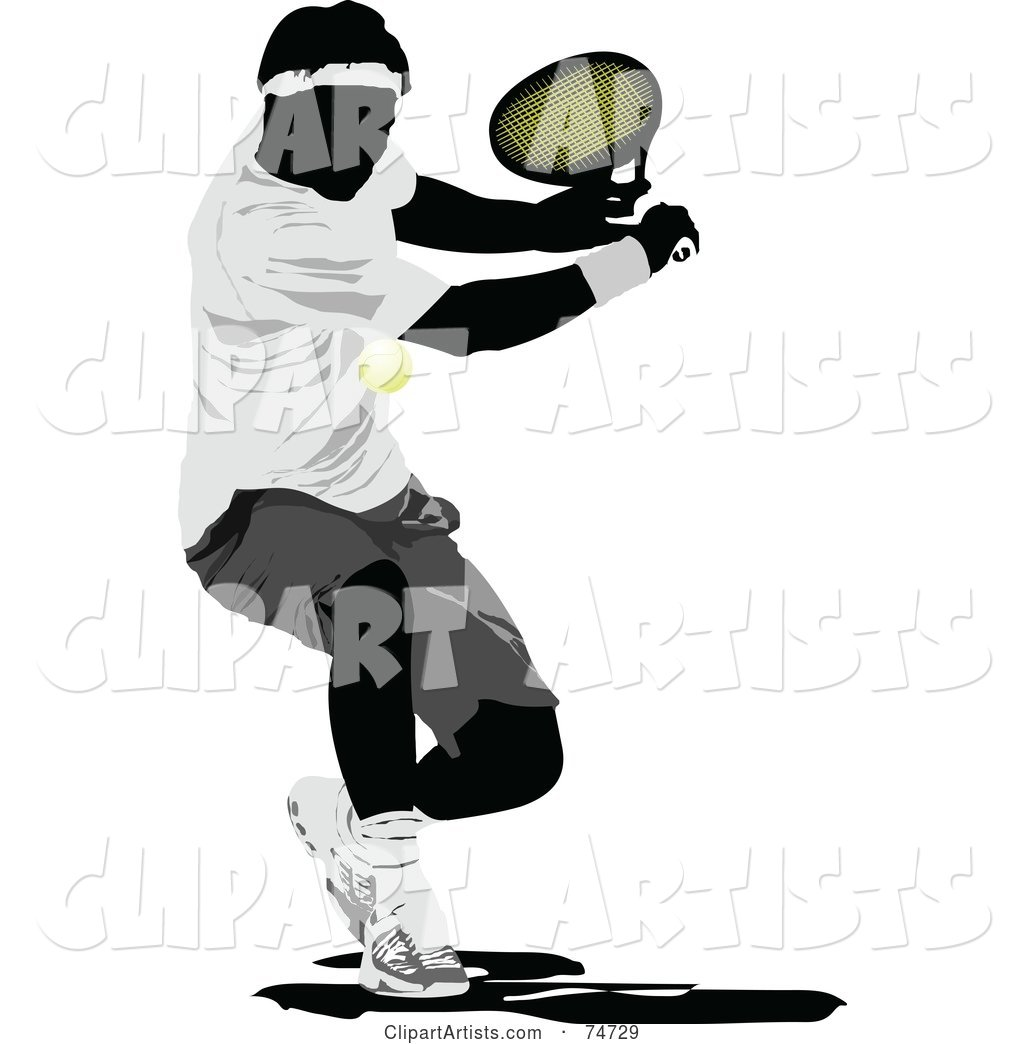 Silhouetted Man Swinging at a Tennis Ball