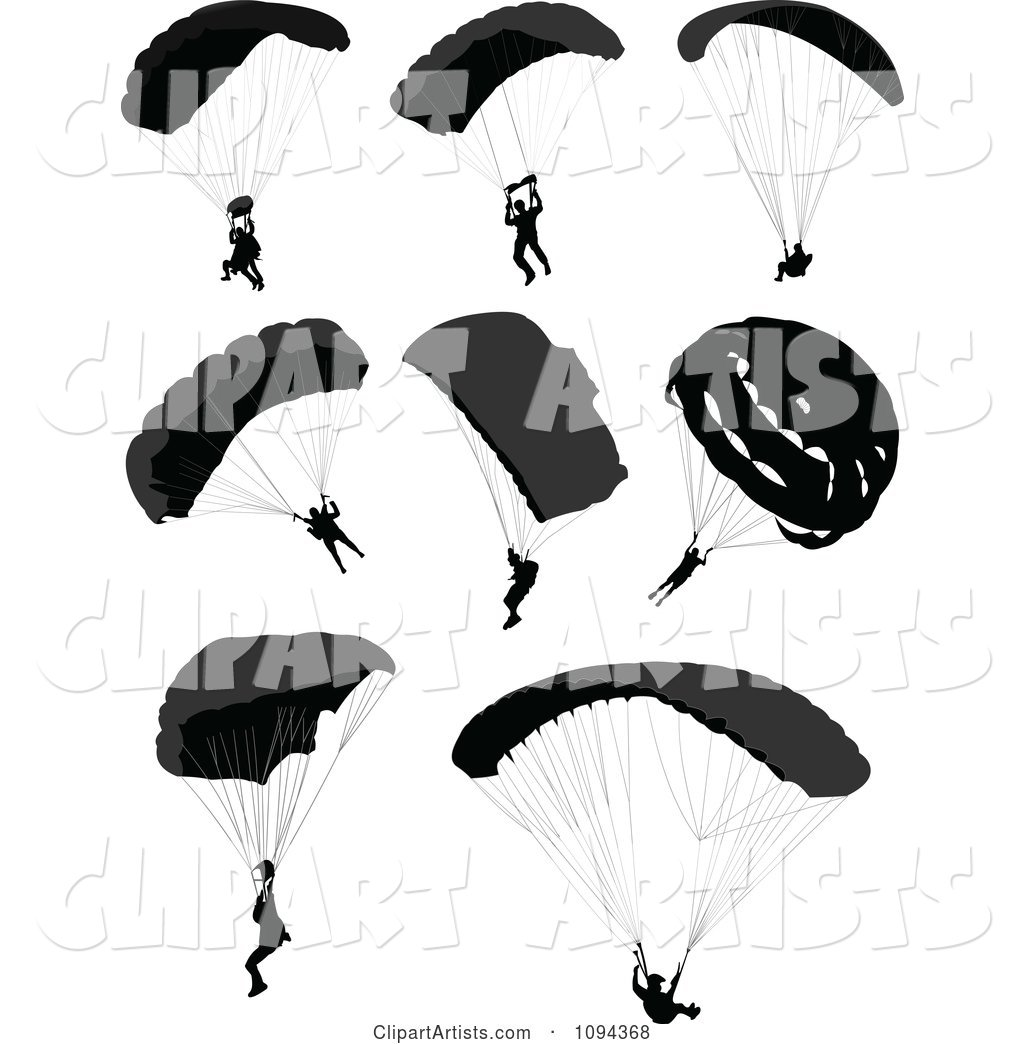 Silhouetted Parachuters