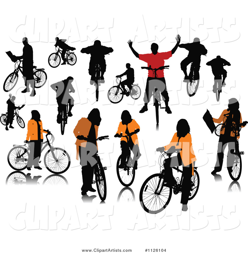 Silhouetted People with Bikes