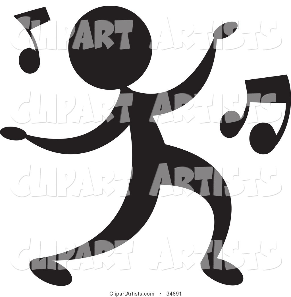 Silhouetted Person Dancing a Jig to Music