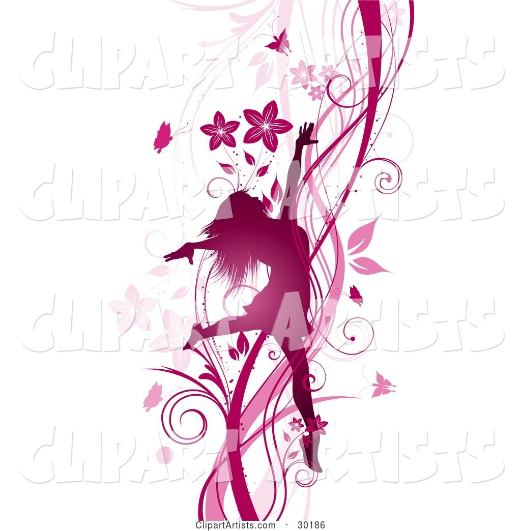 Silhouetted Pink Woman Prancing and Dancing on a Background of Vines, Flowers and Butterflies