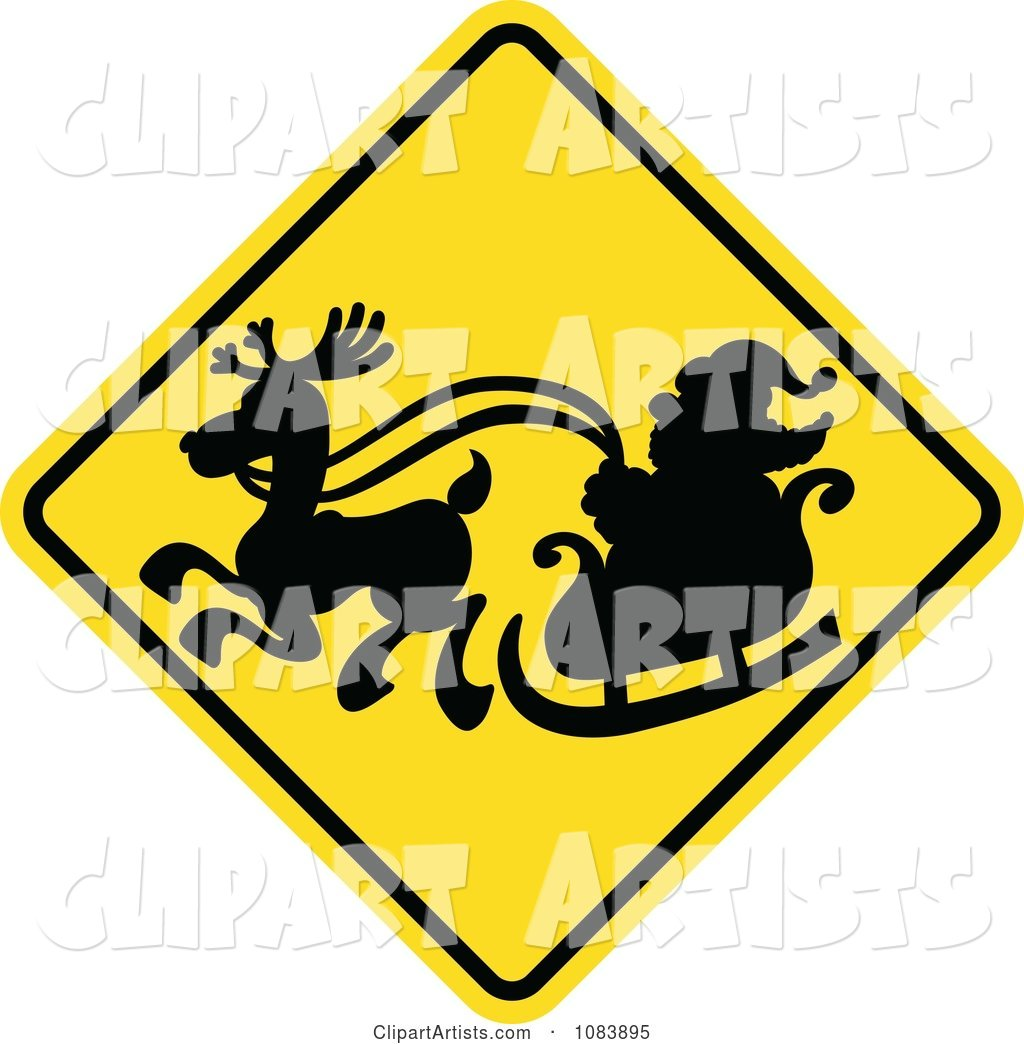 Silhouetted Santa and Sleigh on a Yellow Crossing Warning Sign