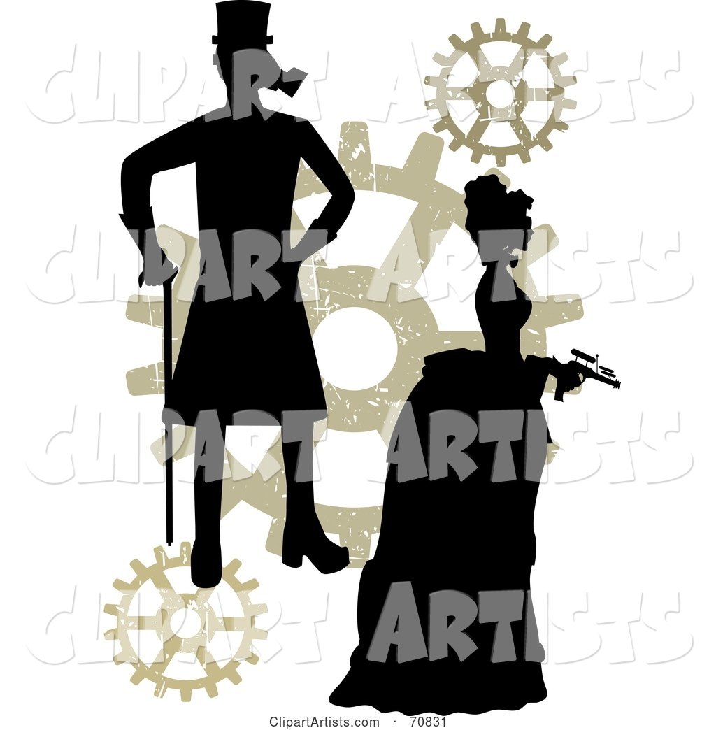Silhouetted Steampunk Couple with Gears, on White