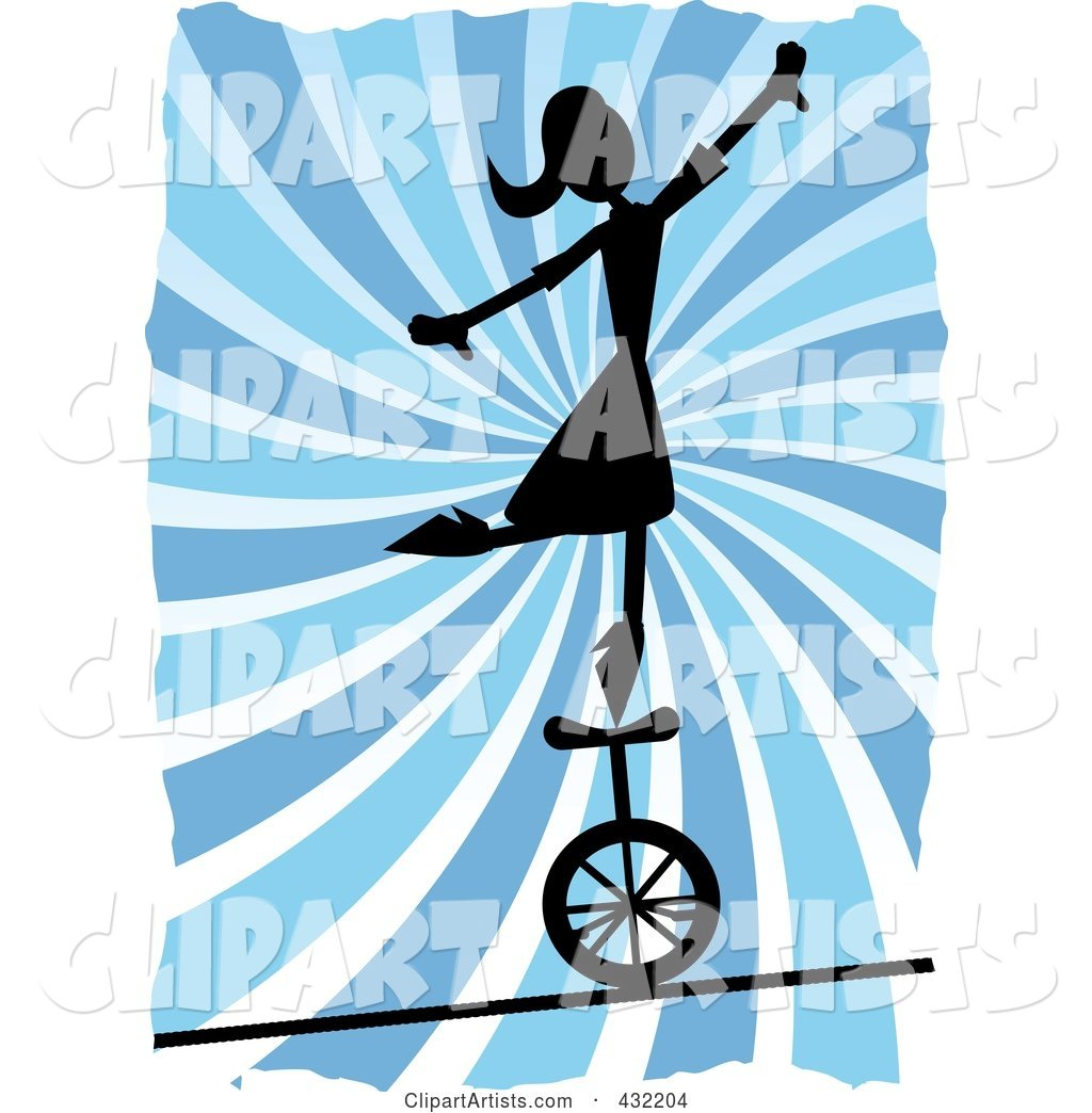 Silhouetted Woman Balancing on a Unicycle over a Tightrope over Blue Swirls