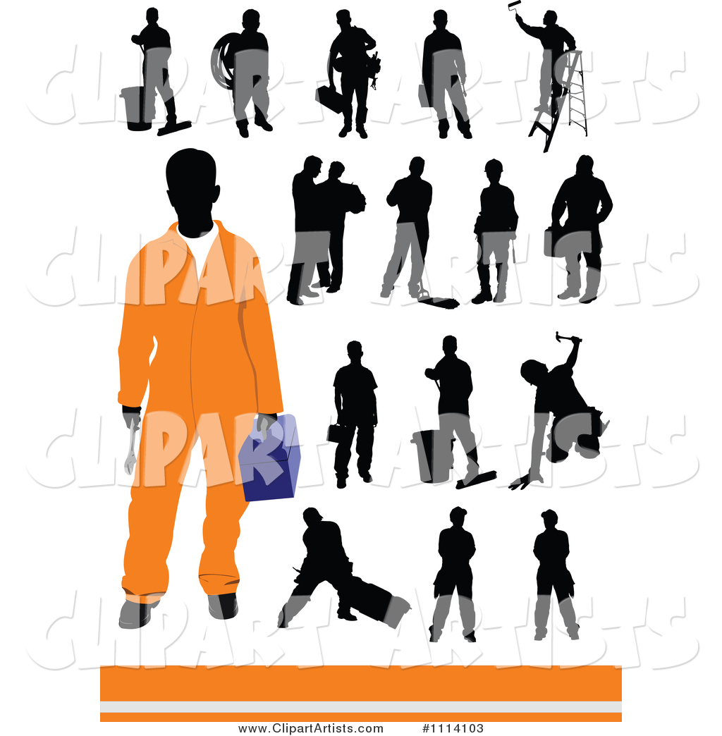 Silhouetted Workers and One Man in Orange