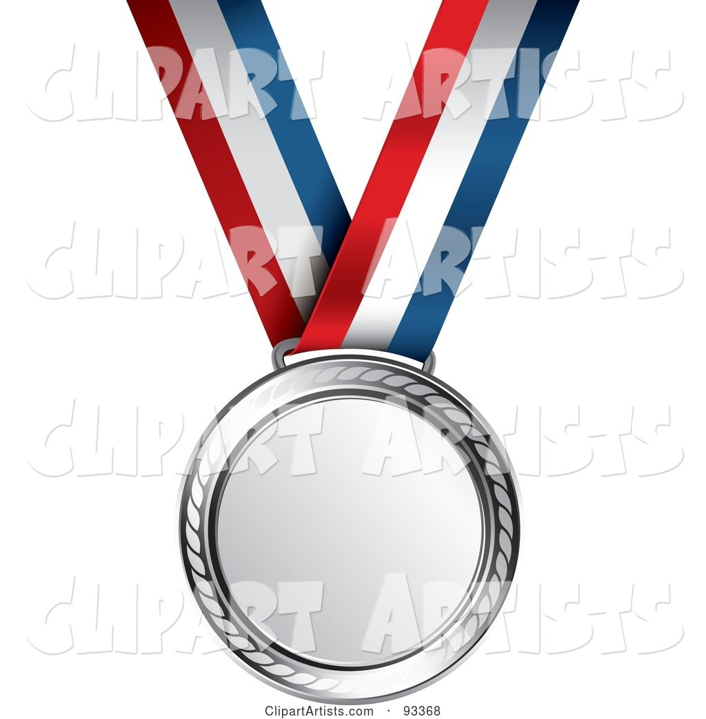Silver Medal Award on a Red, White and Blue Ribbon