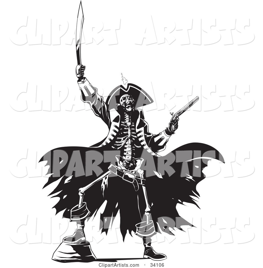 Skeleton Pirate Raising Hell, One Foot up on a Rock, Holding a Sword and Pistil