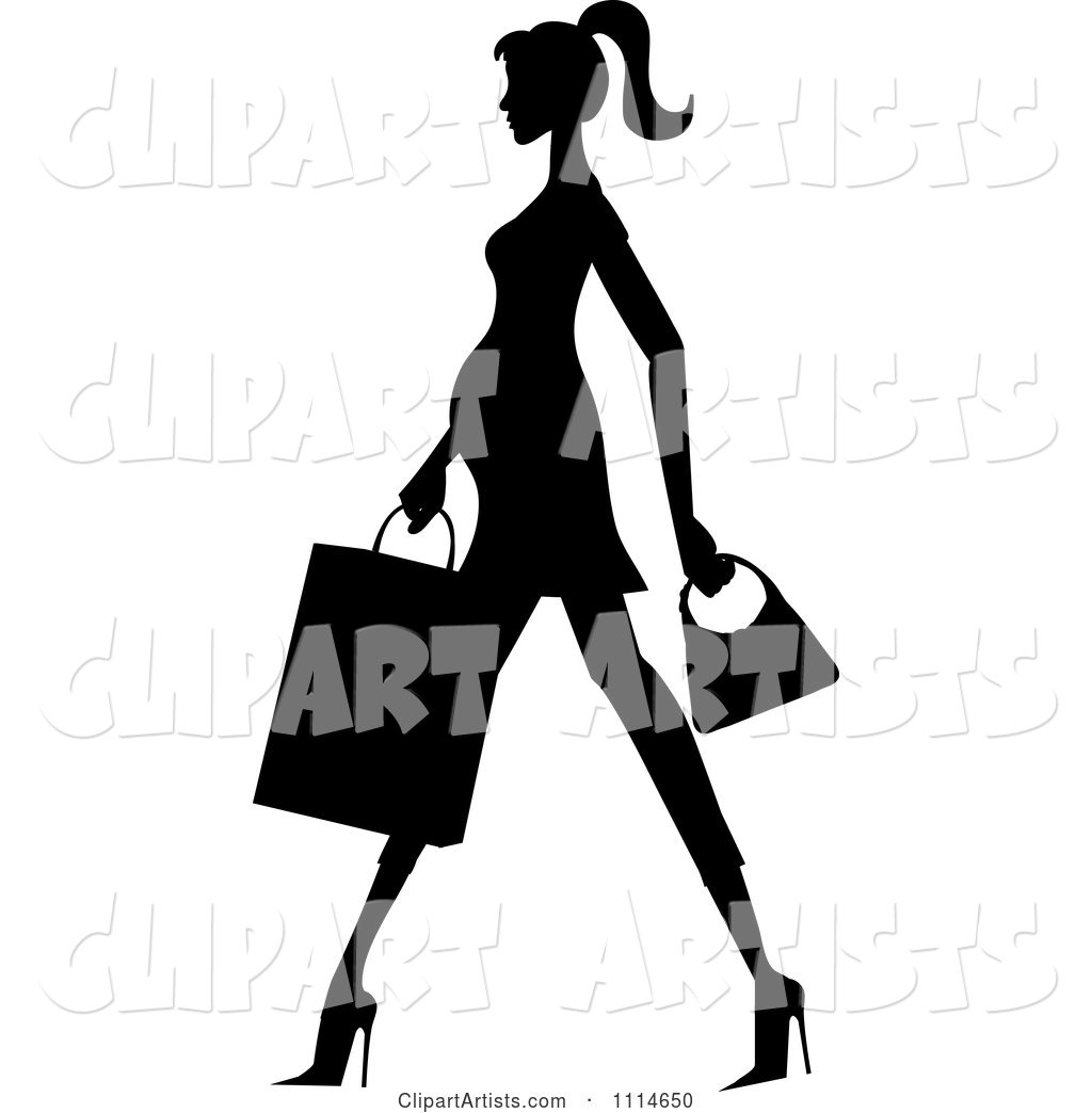 Slender Silhouetted Pregnant Woman Walking with a Shopping Bag and Purse