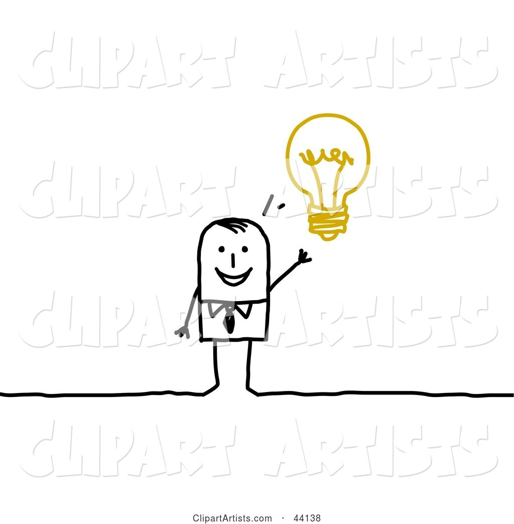 Smart Stick Businessman with an Idea Displayed As a Light Bulb