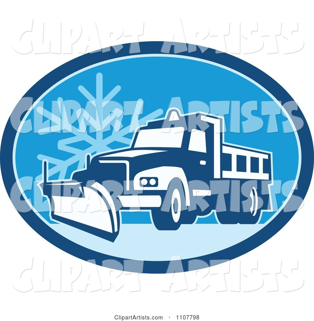 Snow Plow Truck on a Road in a Blue Oval with a Snowflake