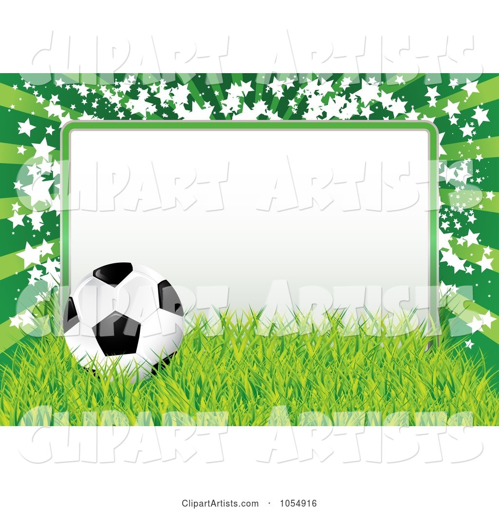 Soccer Ball, Grass and Star Frame