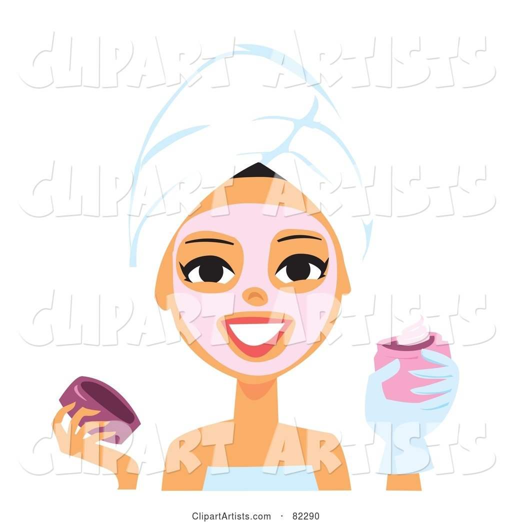 Spa Woman Applying a Pink Mask to Her Face