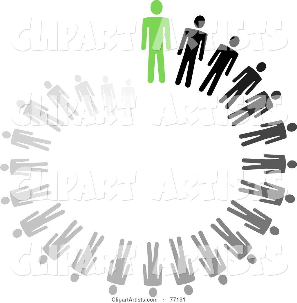 Spiraling Circle of Black and Gray Paper People Standing Behind a Green Leader