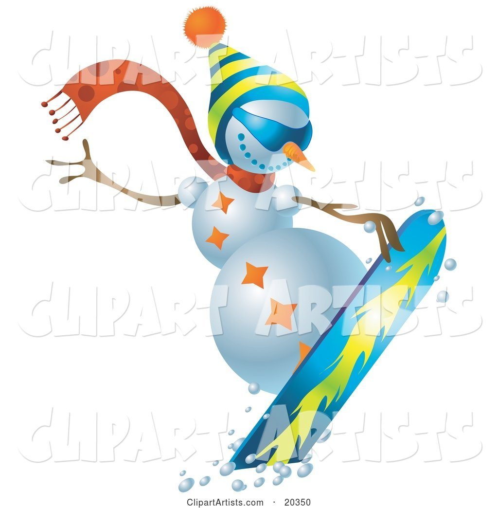 Sporty Snowman Wearing a Hat and Scarf, Snowboarding on Slopes