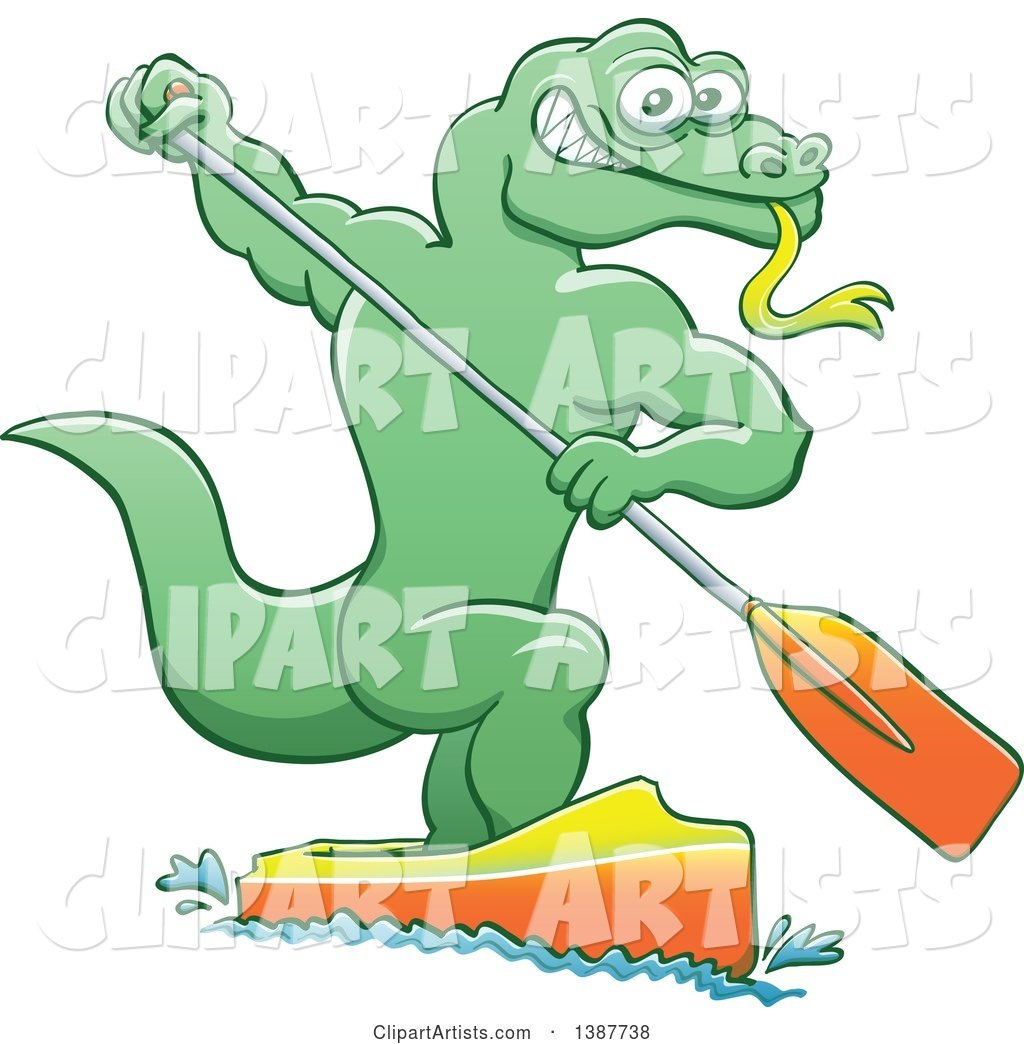 Sporty Water Monitor Lizard Olympic Canoe Sprinting