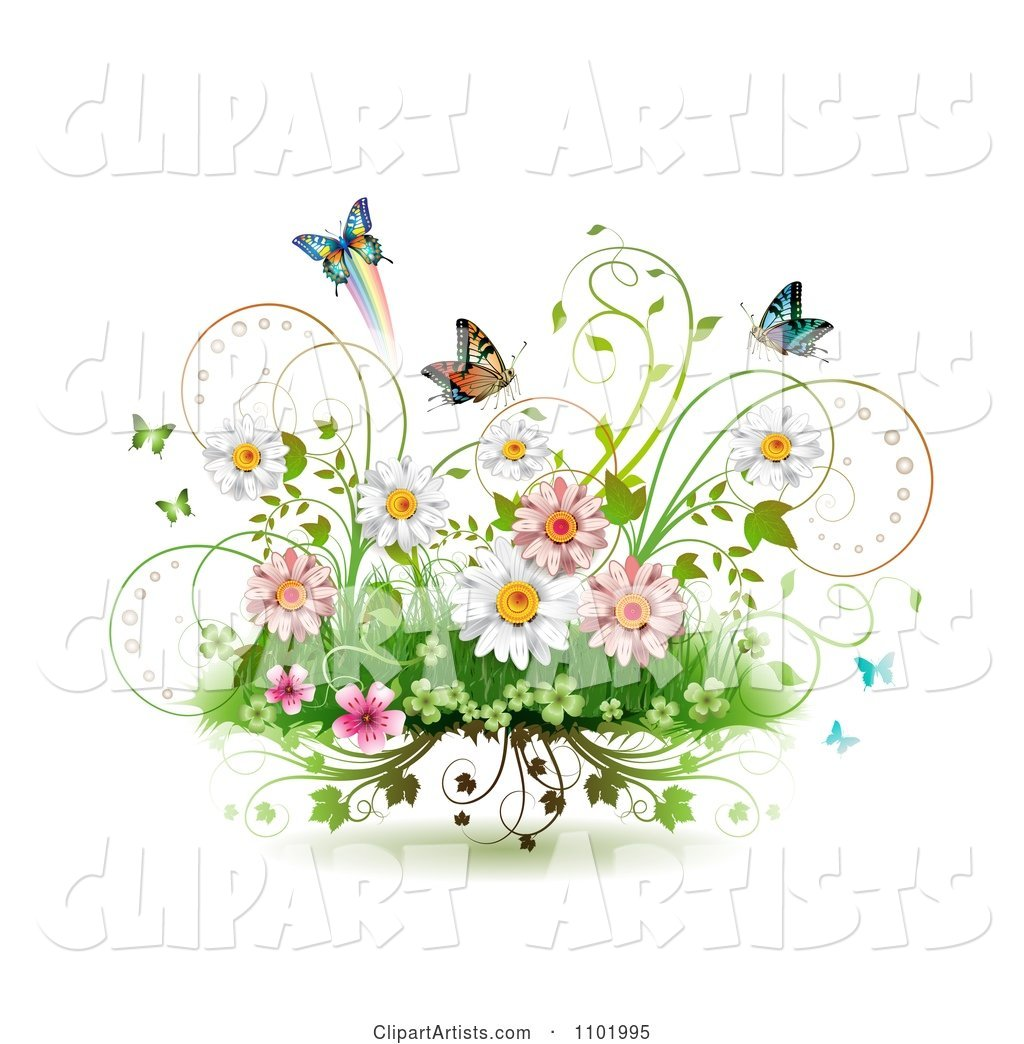 Spring flowers vines and butterflies on white clipart by merlinul spring flowers vines and butterflies on white mightylinksfo