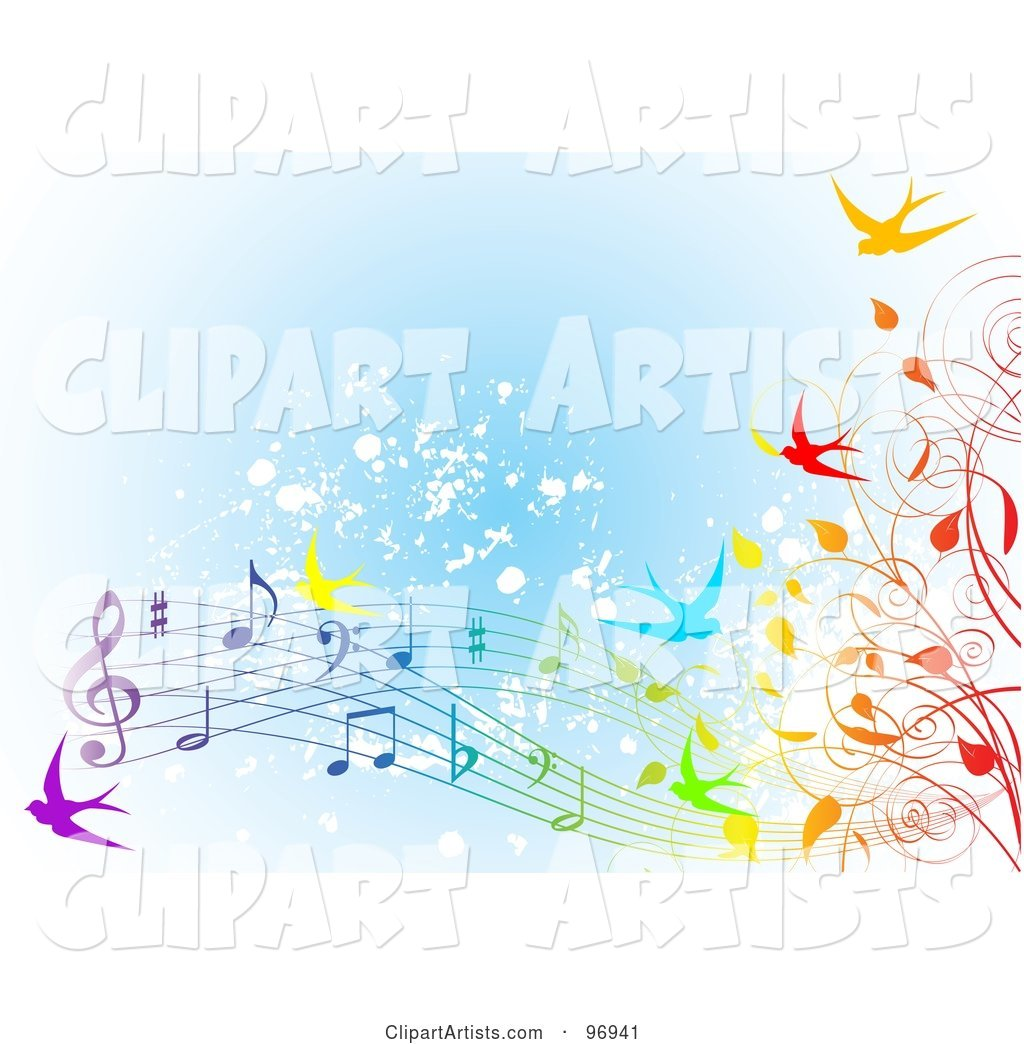 Spring Time Background of Colorful Swallows, Vines and Music Notes over Blue Grunge