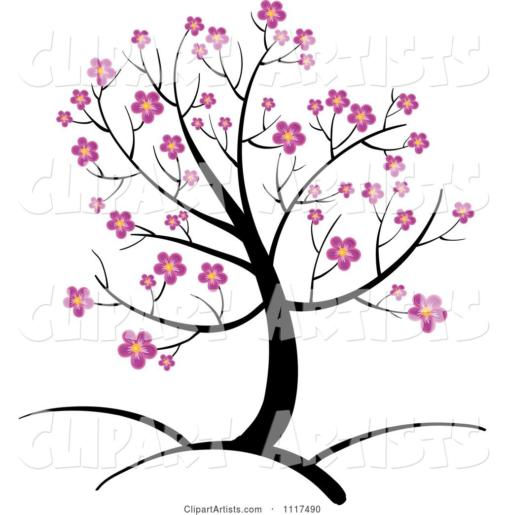 Spring Tree with Pink Cherry Blossoms