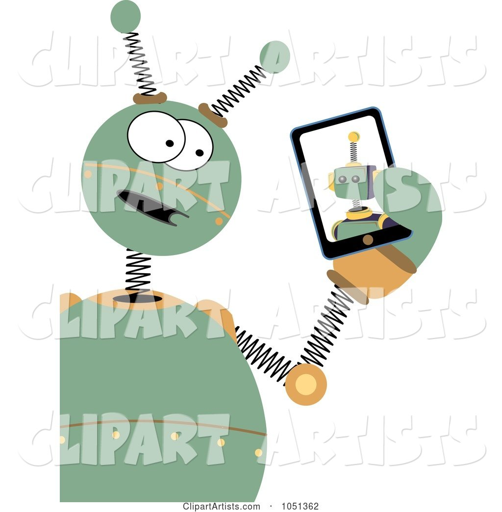 Springy Green Robot Holding a Tablet
