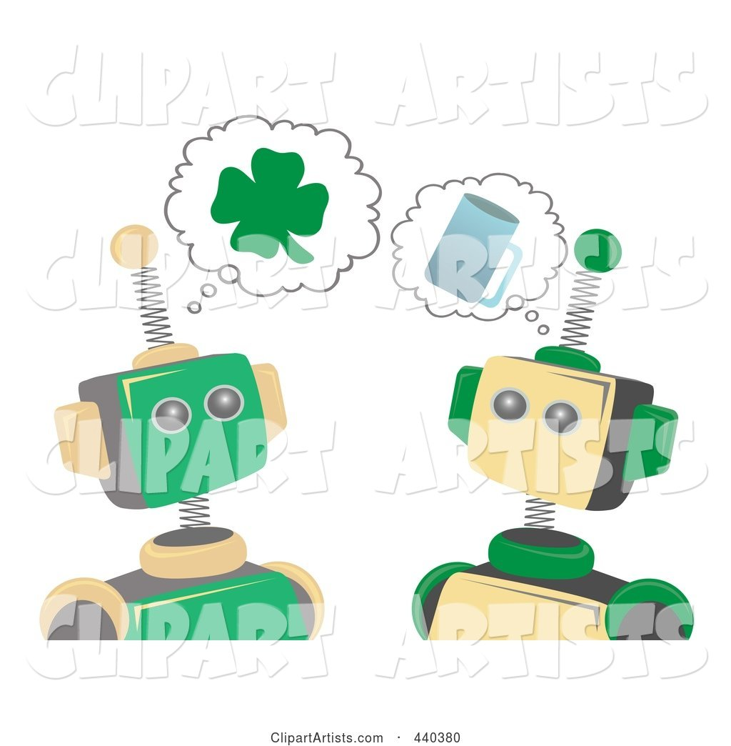 St Patricks Day Robots Thinking of Shamrocks and Beer