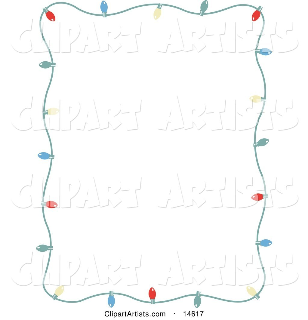 Stationery Frame of Colorful Christmas Lights Bordering a White Background