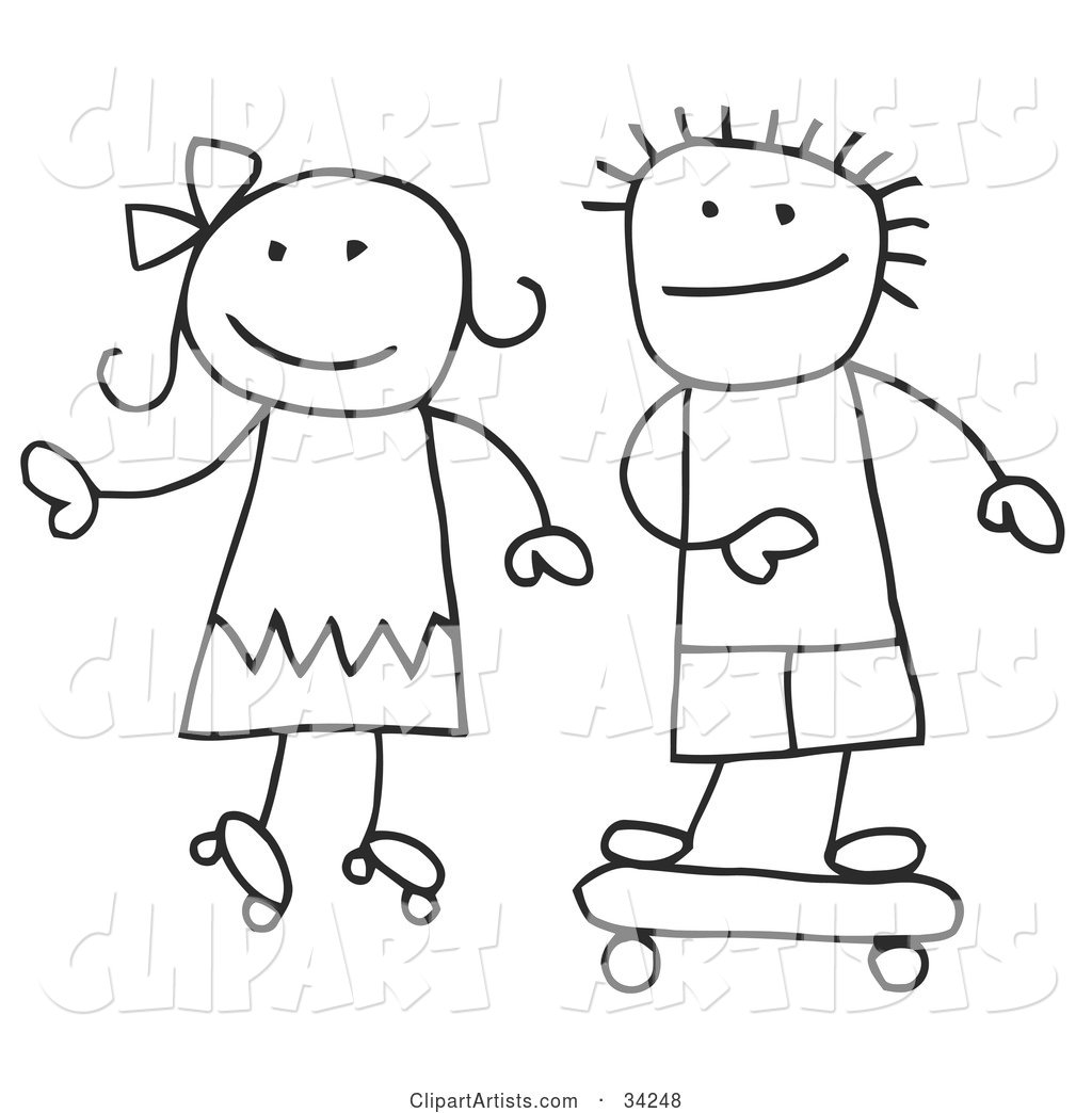 Stick Boy and Girl Skateboarding and Roller Skating