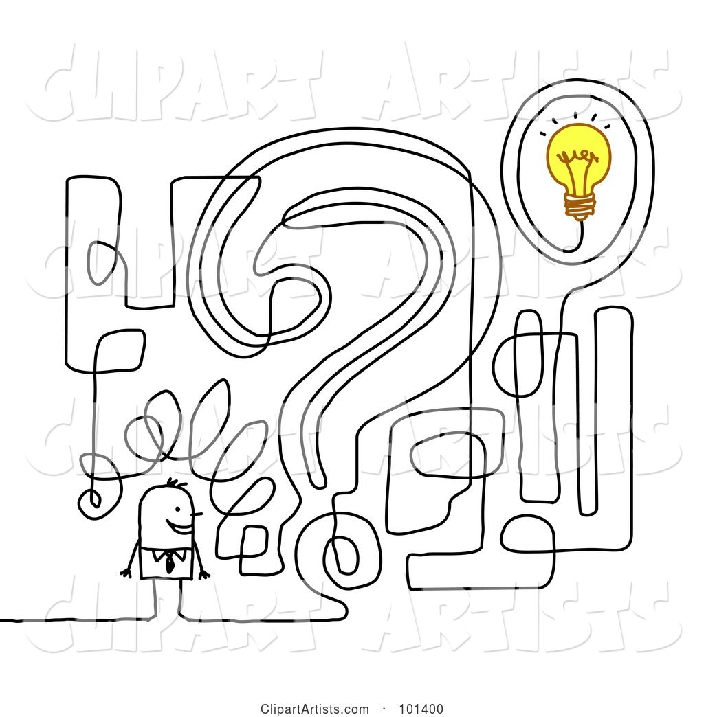 Stick Businessman by a Question Mark Maze