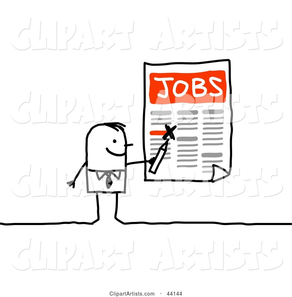 Stick Businessman Highlighting Job Openings on a Poster