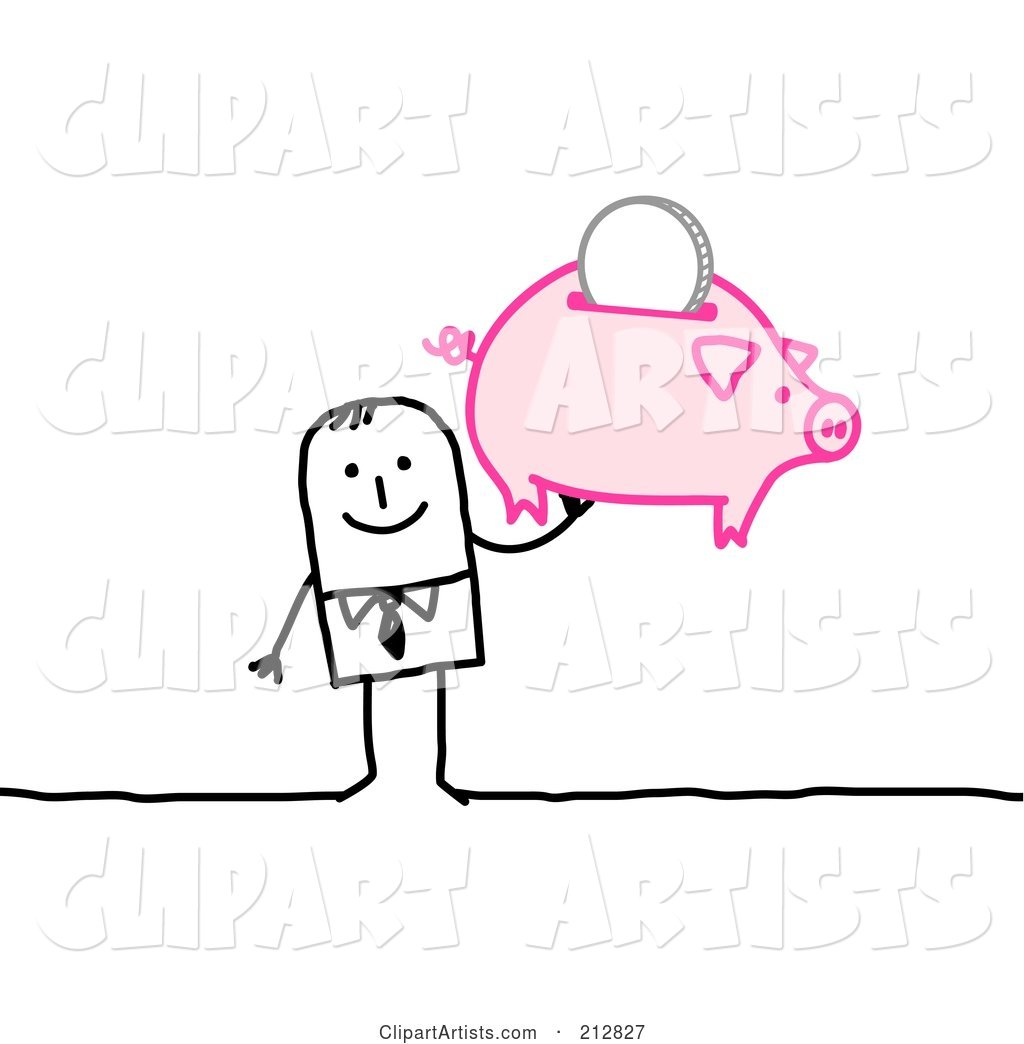Stick Businessman Holding up a Piggy Bank