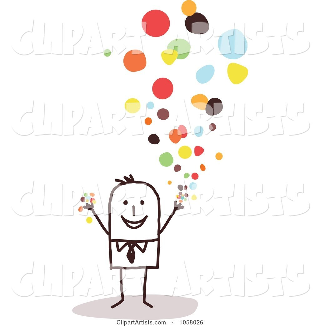 Stick Businessman Tossing Confetti