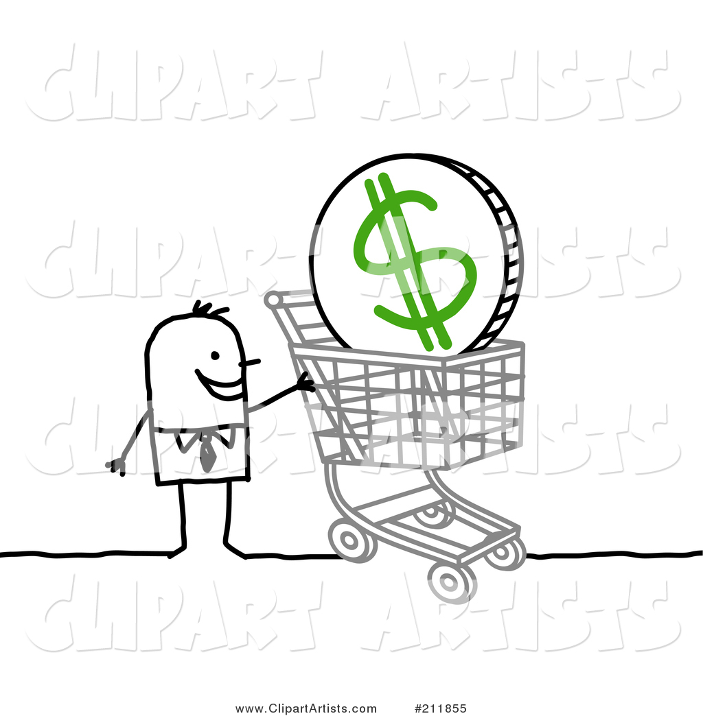 Stick Businessman with a Dollar Coin in a Shopping Cart