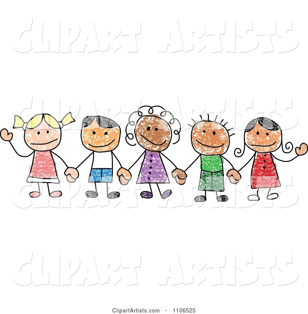 Stick Drawing of Multi Ethnic Children Holding Hands