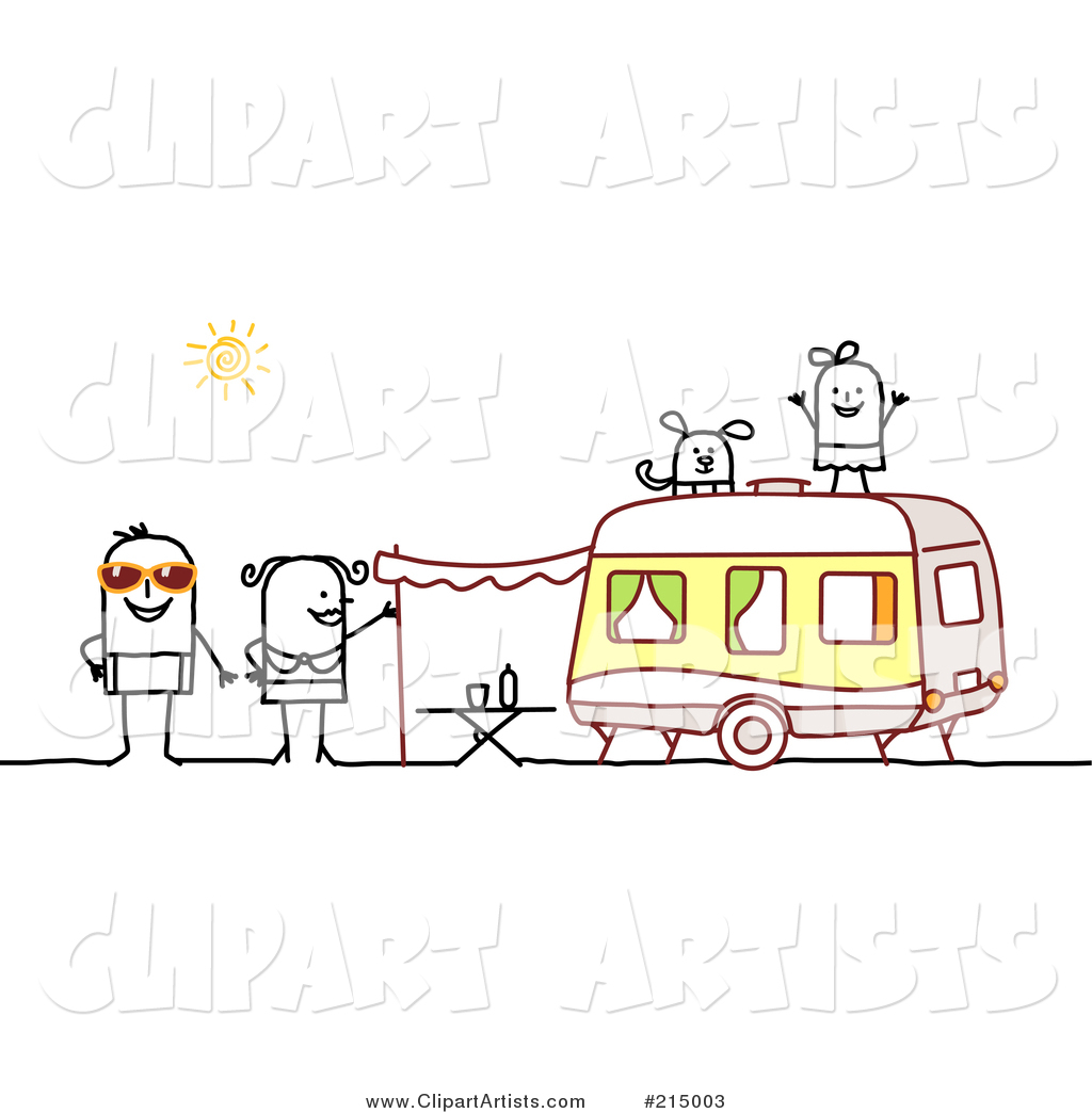 Stick Family Camping with a Camper