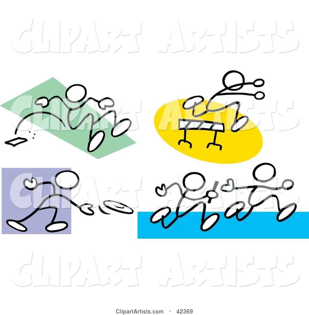Stick Figures Doing the Long Jump, Leaping over Hurdles, Tossing a Discus and Running a Relay