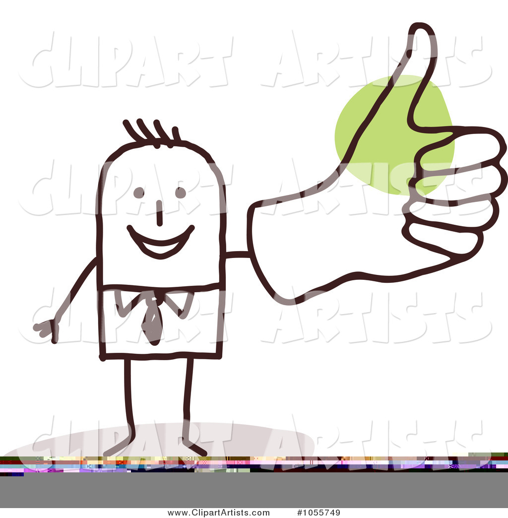 Stick Man Giving a Thumbs up with a Big Hand