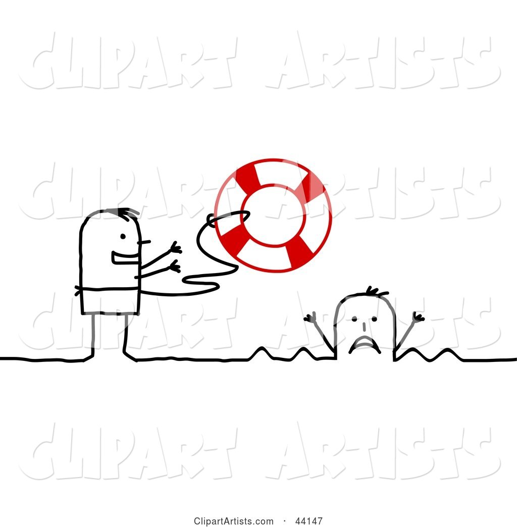 Stick Man Tossing a Life Buoy out to a Drowning Person