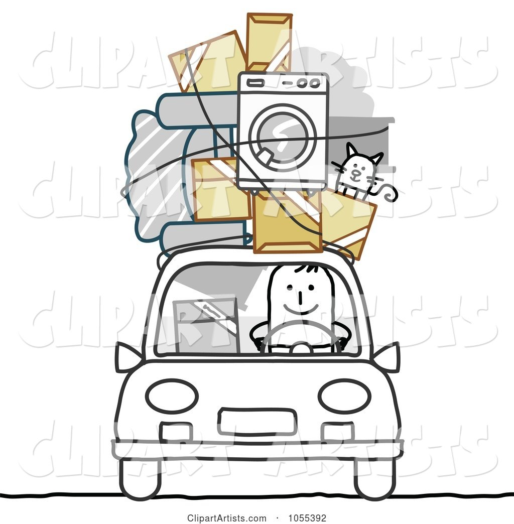Stick Man with Furniture, Cat and Boxes on the Roof of His Car