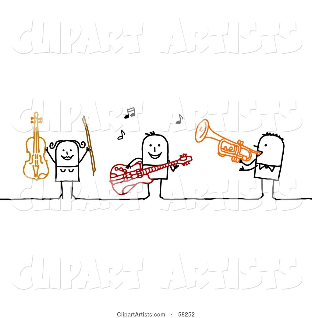 Stick People Character Band Playing the Violin, Guitar and Trumpet