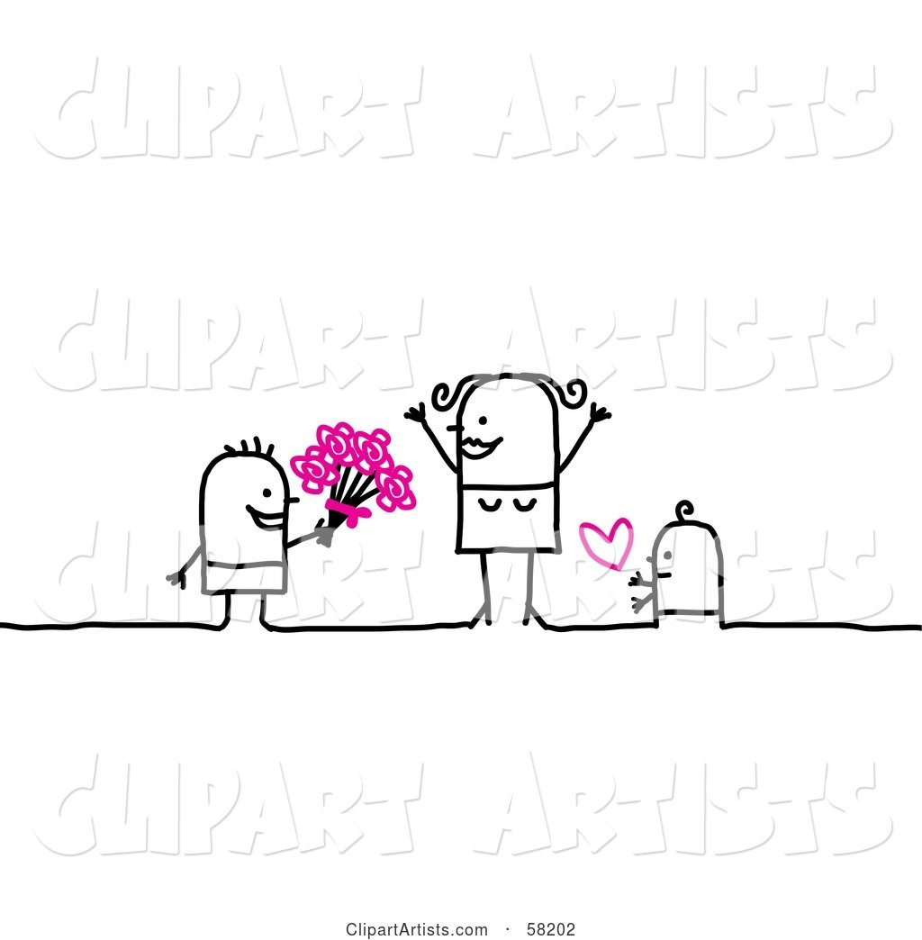Stick People Character Children Giving Their Mom Flowers and Love on Mother's Day