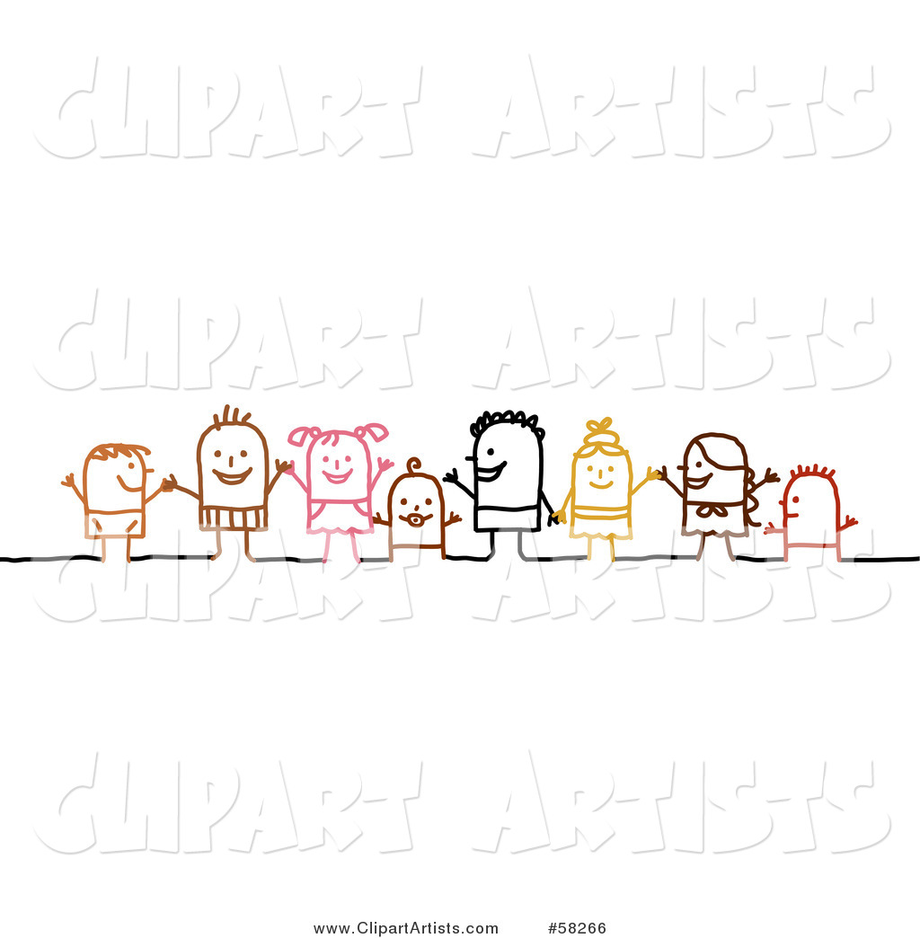 Stick People Character Children Holding Hands