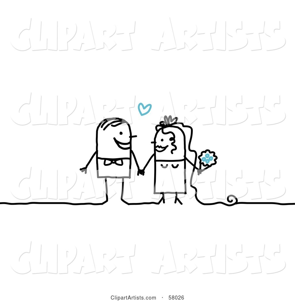 Stick People Character Couple Bride and Groom Getting Hitched