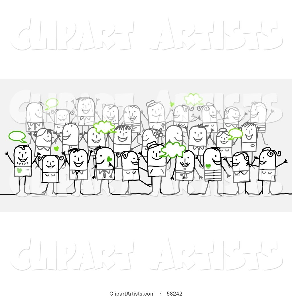 Stick People Character Crowd with Green Text Bubbles