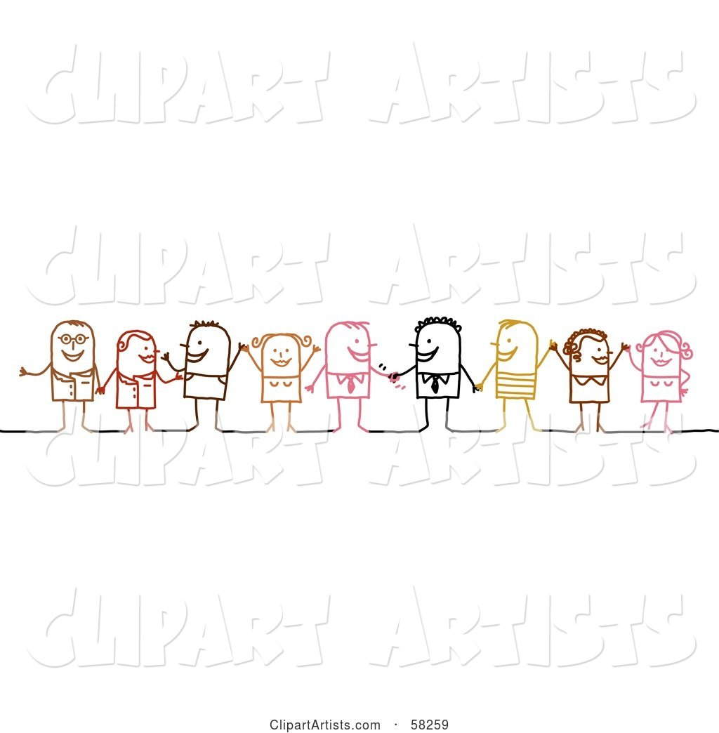 Stick People Character Diverse Business Team Standing