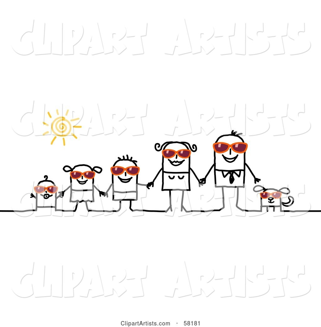 Stick People Character Family and Dog Wearing Shades and Holding Hands