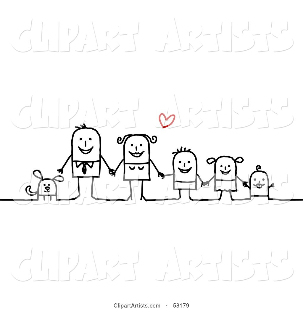 Stick People Character Family Holding Hands and Standing with Their Dog Under a Heart