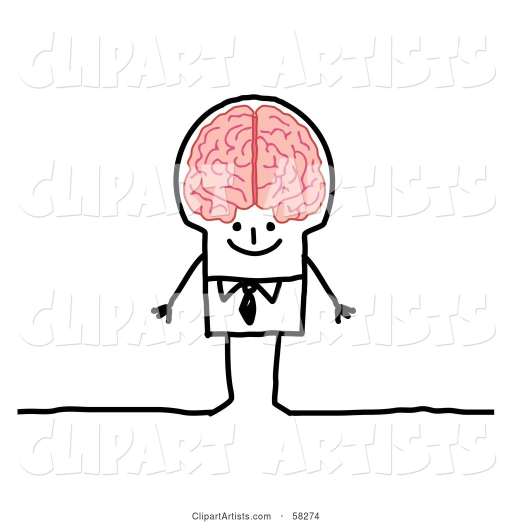 Stick People Character Genius Man with a Big Brain