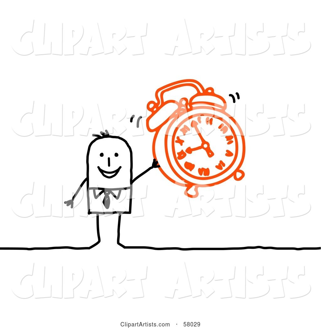 Stick People Character Holding an Alarm Clock