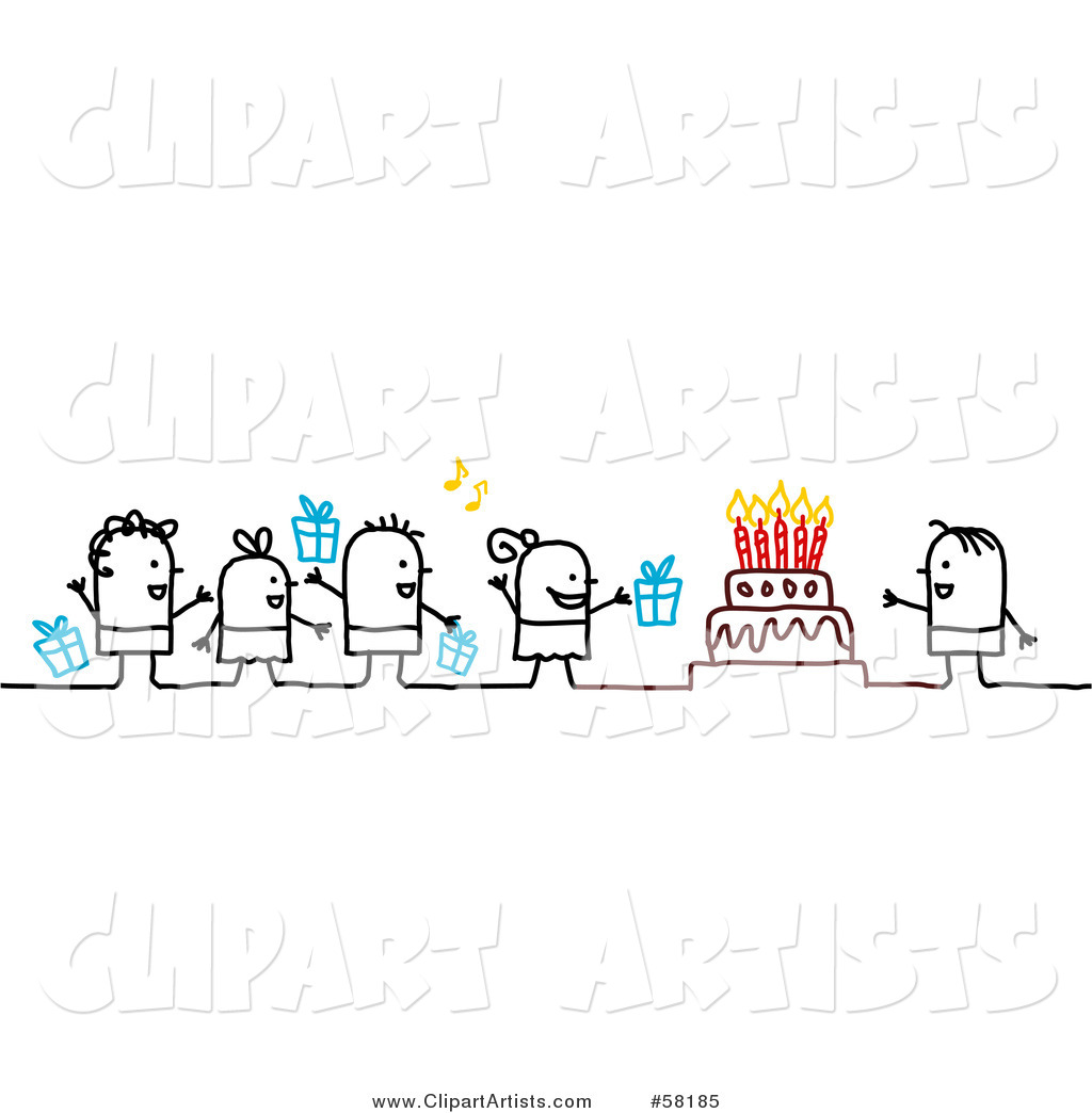 Stick People Character Kids with Presents, Singing to a Birthday Boy