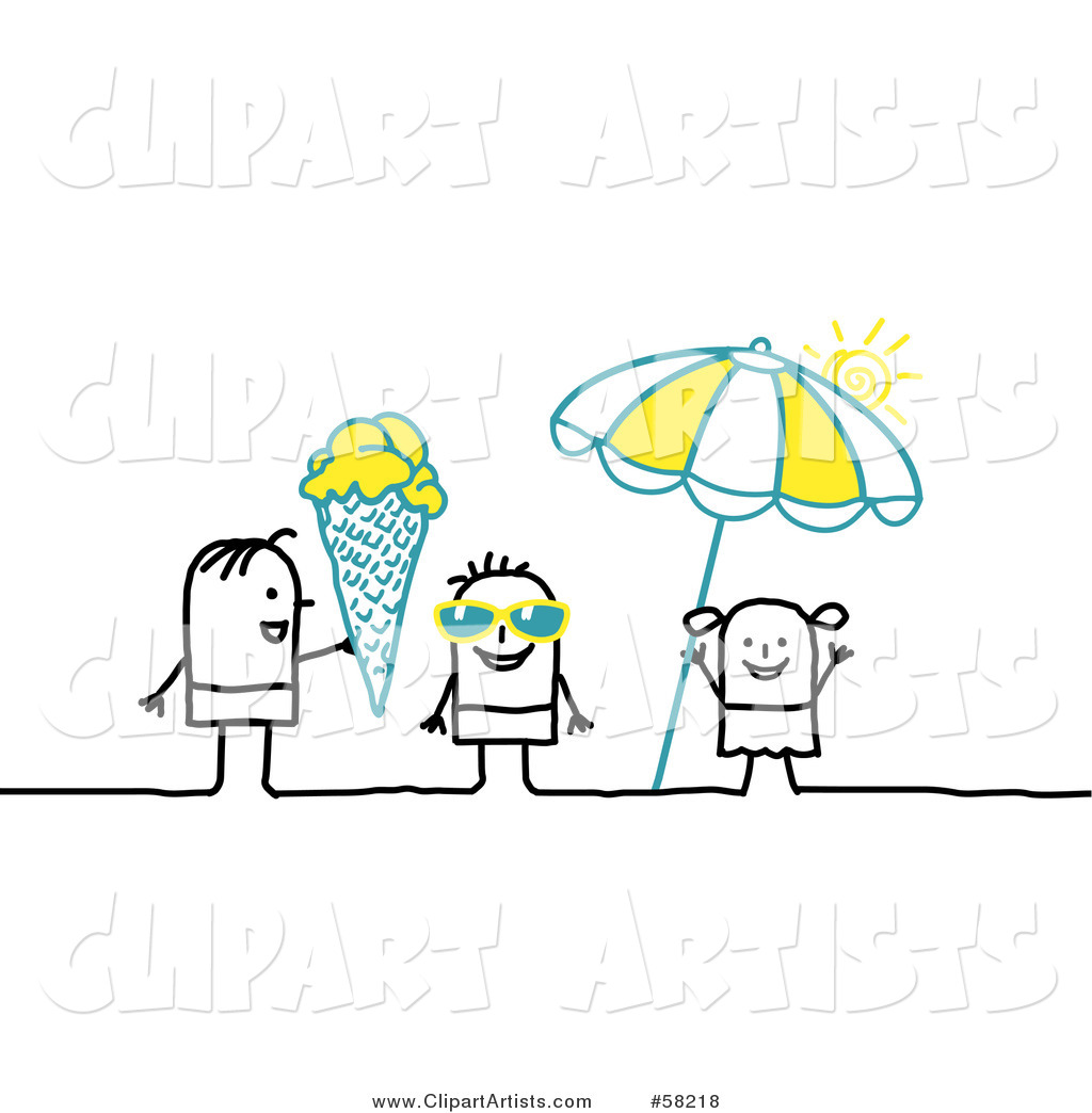 Stick People Character Kids with Shades, Ice Cream and an Umbrella on a Beach