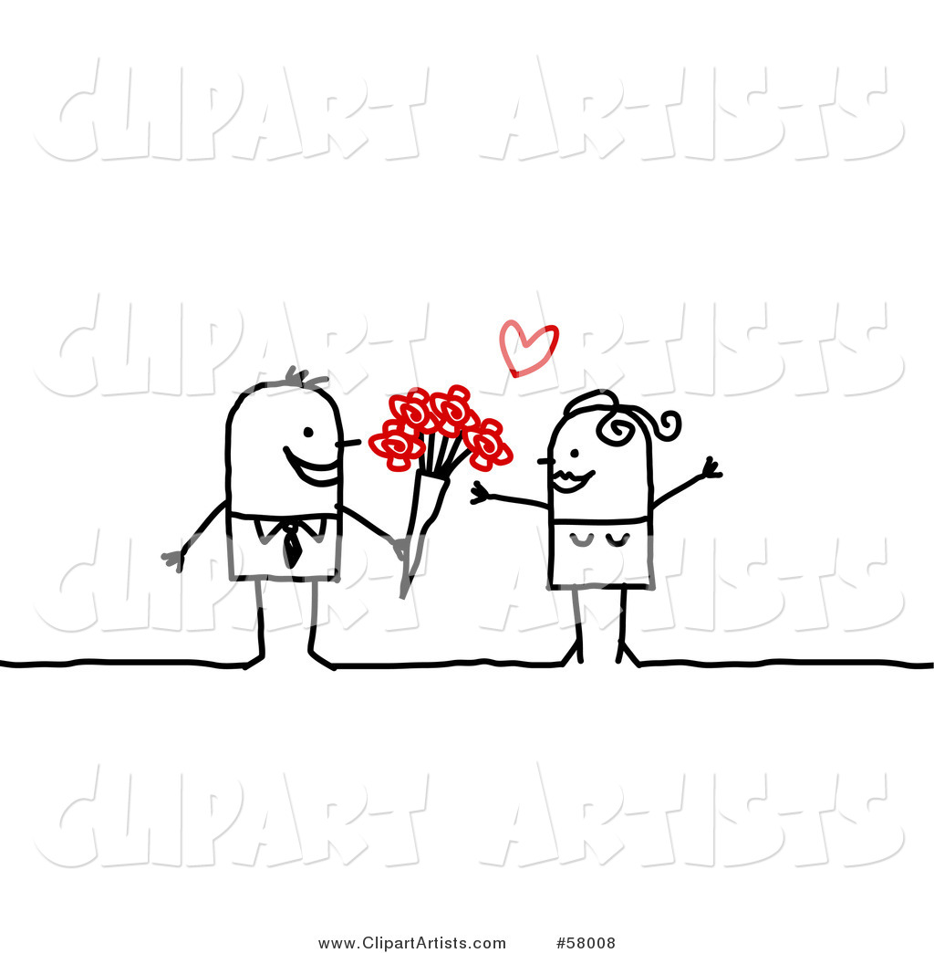 Stick People Character Man Giving His Love Flowers